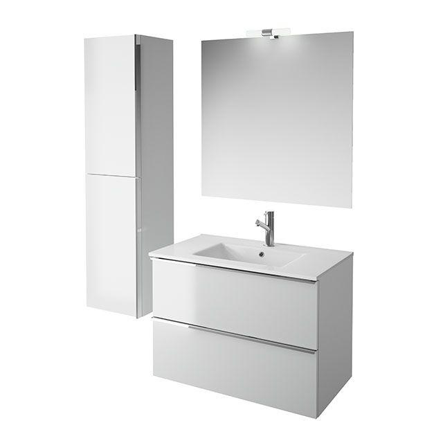 meuble de salle de bains gris 80 cm ohla - Salle de bain design ...