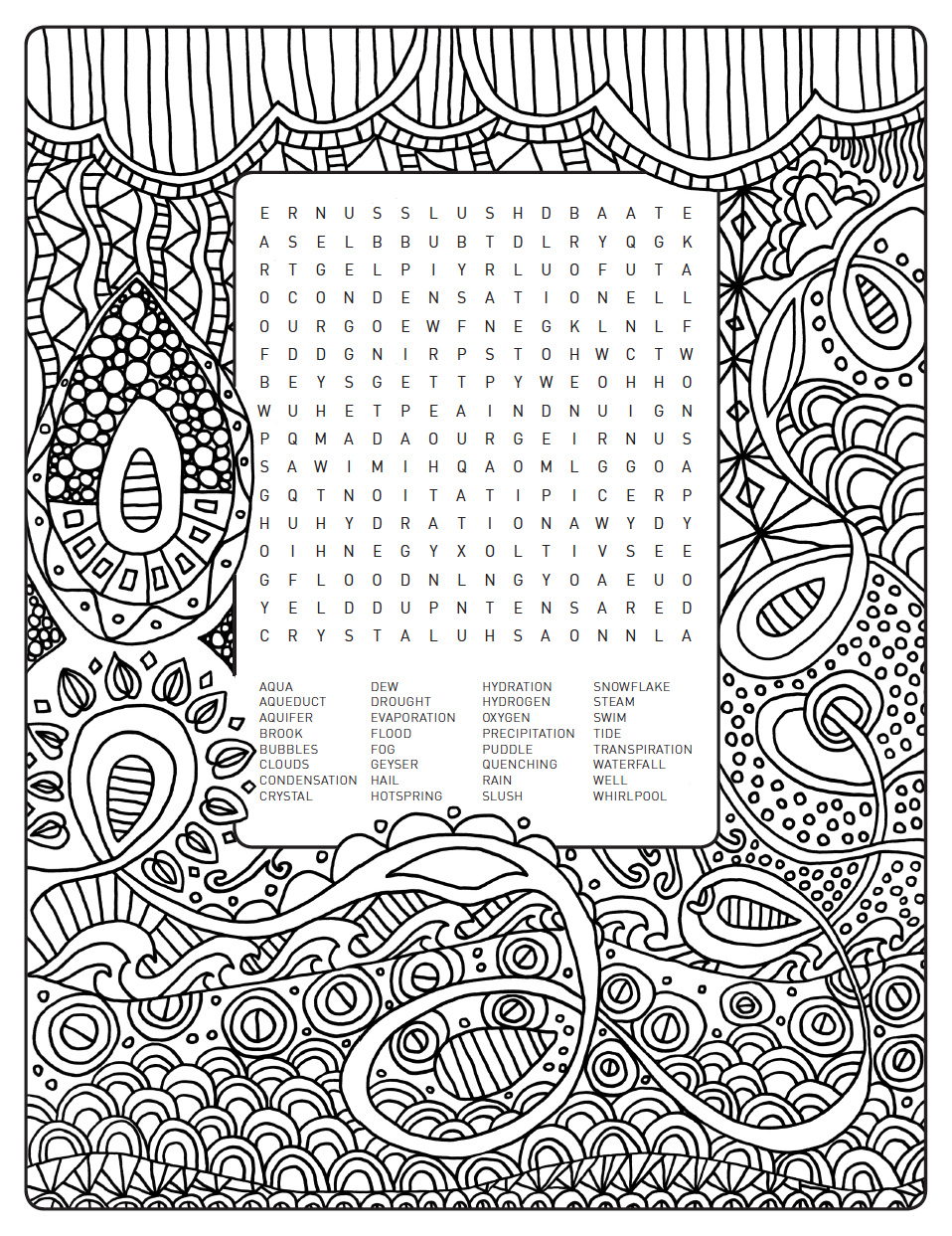 weelife word search colouring page world of water