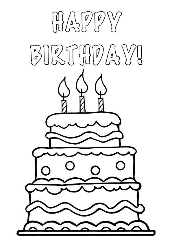 Clipart Cake Black And White No Candle Clip Art Library Happy Birthday Cards Printable Birthday Card Printable Birthday Coloring Pages