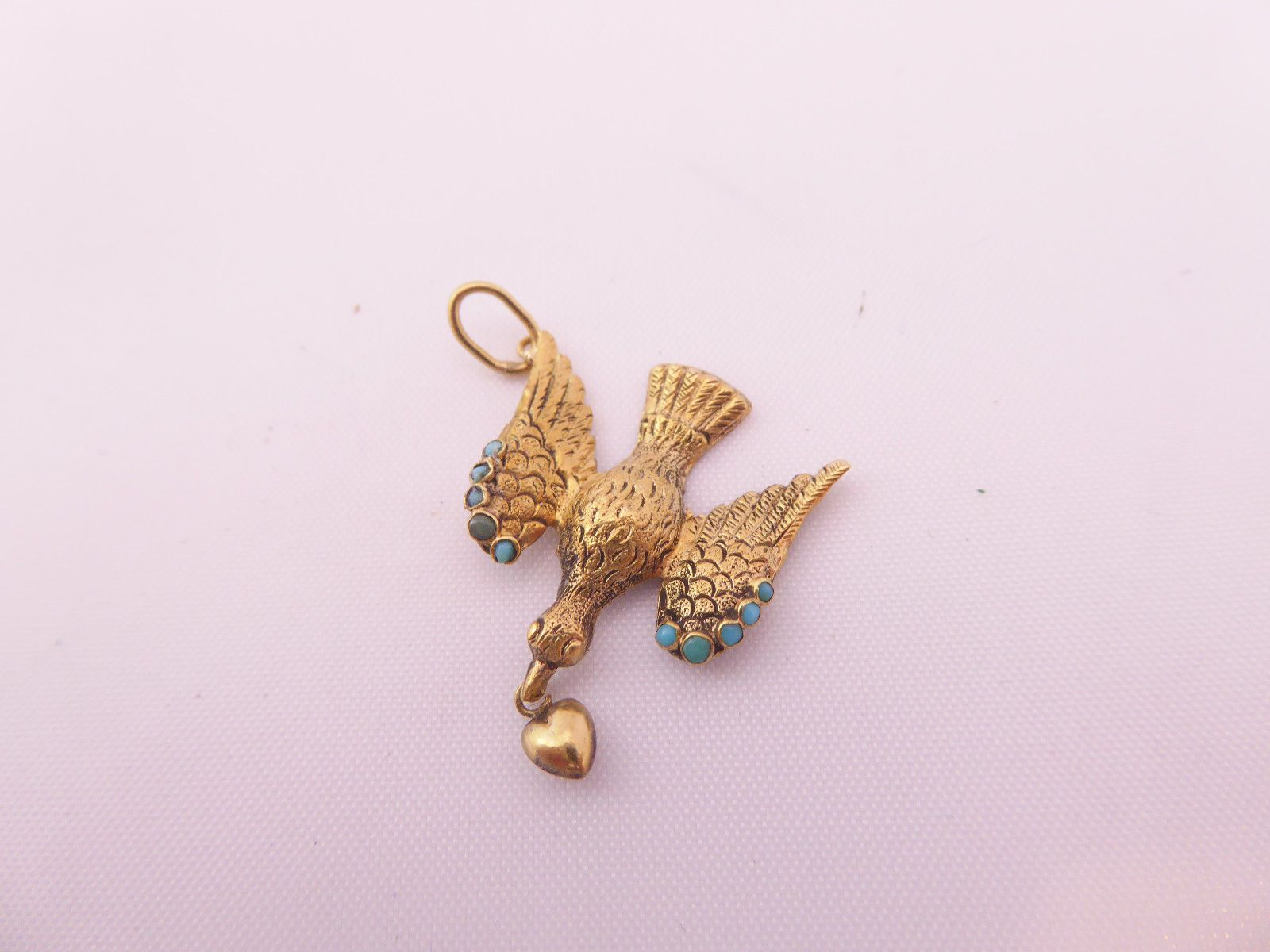 Ct k gold turquoise georgian th century bird pendant