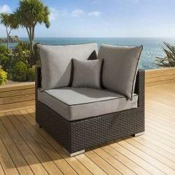 db85fc3a9402 Luxury Outdoor Garden Sofa Piece Rattan Black / Grey Square Corner ...