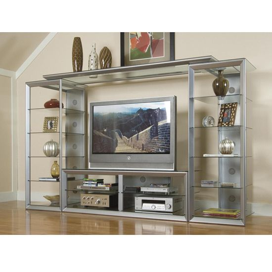 pictures of entertainment centers entertainment centers walls silver glass entertainment center - Glass Entertainment Center