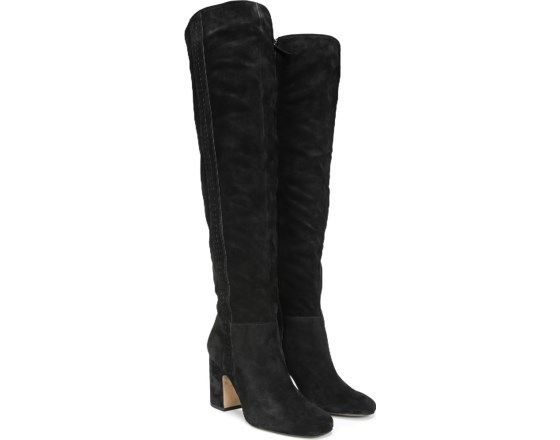 22660022800 An over-the-knee boot that will elevate every look. Suede upper. Almond  toe. Inner zip closure. Slit at back. Cut out detailing at side.