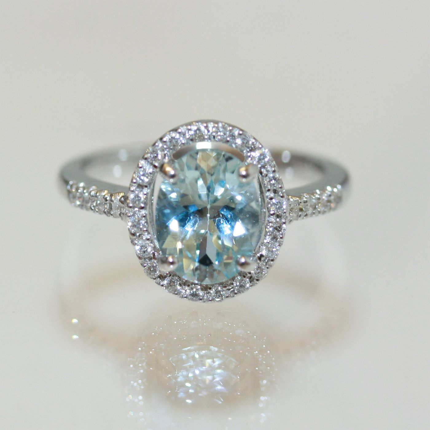 aquamarine rings Buy 18ct aquamarine and diamond ring Sold Rings
