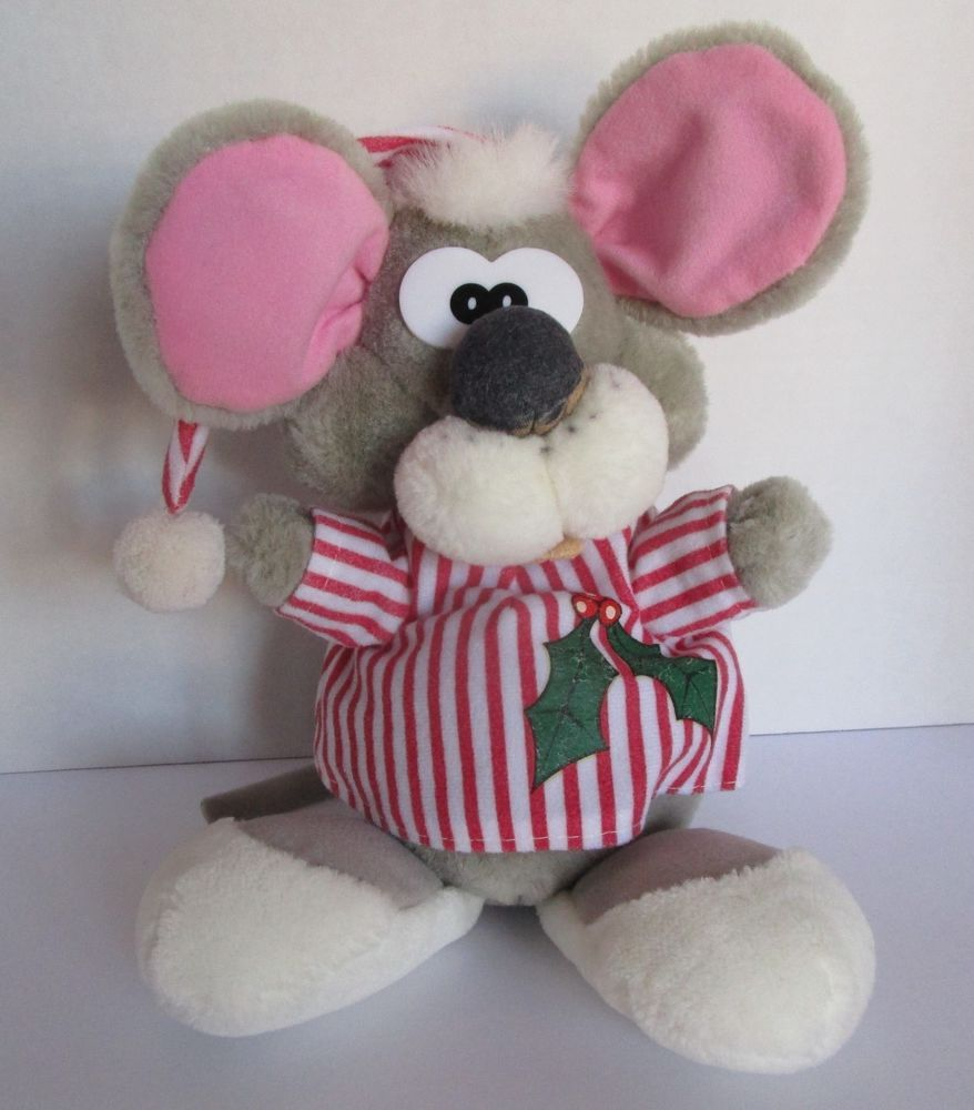 Vtg Christmas Mouse Plush Toy 1988 Ganzbros Pizzazz 14 Red Striped