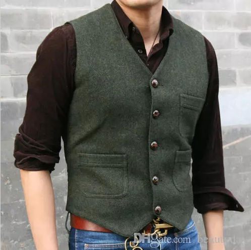 2019 Modest Dark Green Wedding Groom Vests Wool Herringbone Tweed Vests Groomsmen Vest Mens Suit Vest Prom Blazers Waistcoat Plus Size #men'ssuits