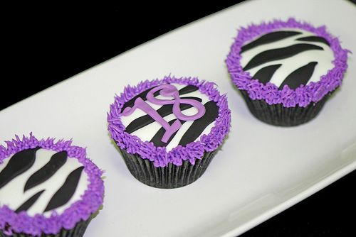 purple leopard or zebra print party supplies Purple Zebra Cupcakes