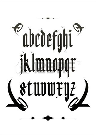 Vector Gothic Font Alphabet With Decorations Stock