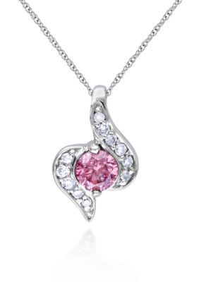 Belk  Co.  Pink and White Diamond Pendant in 10k White Gold