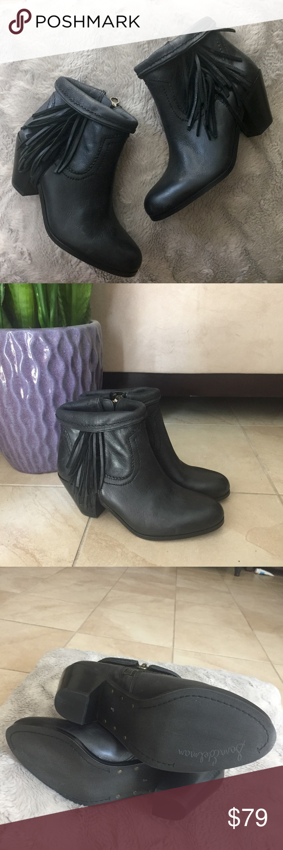"""NEW Sam Edelman Louie black leather fringe booties New without tags/box Sam Edelman Louie ankle boots with fringe detail. Western style booties with inner ankle zip, outer fringe, and can be cuffed at top (as pictured). Genuine leather. 3"""" block heel. Size 8. Sam Edelman Shoes Ankle Boots & Booties"""