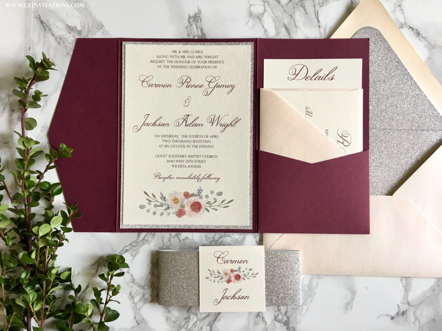 Burgundy and Silver Glitter Pocket Wedding Invitations, Watercolor ...