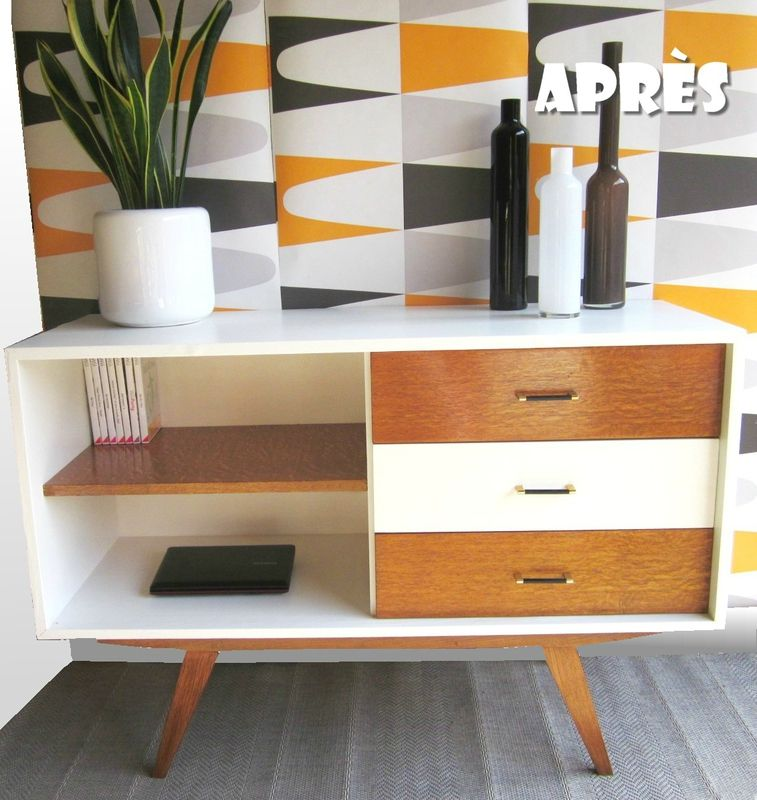 Buffet vintage relook par ma bulle meuble vintage for Meuble mid century montreal
