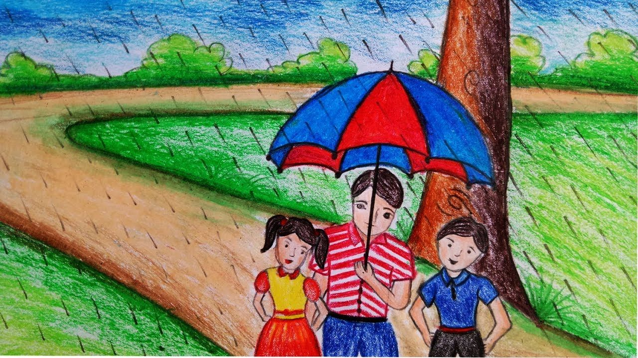 How to draw rainy season scenery for kids step by step easy draw youtube
