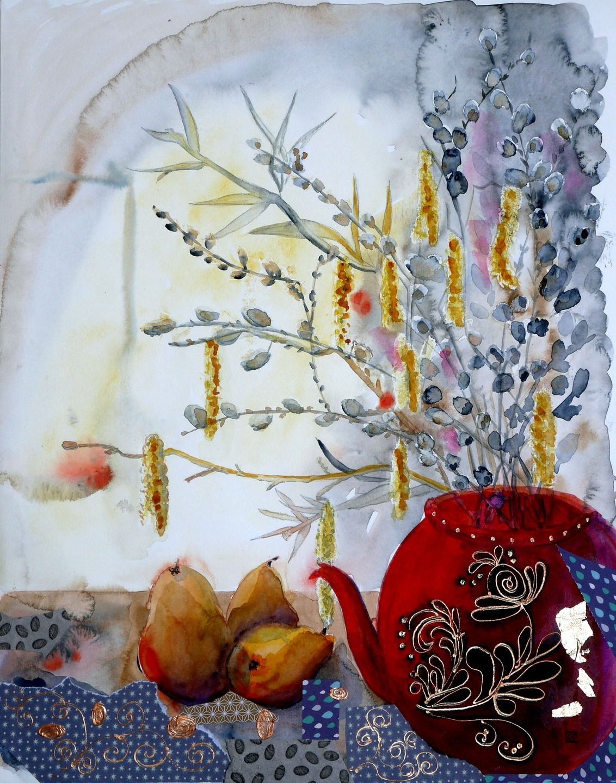 tableau art contemporain original d coration peinture moderne aquarelle automne peintures par. Black Bedroom Furniture Sets. Home Design Ideas