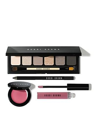 Bobbi Brown created this exclusive, party-perfect makeup collection just for us (and you!). This universally flattering set pairs six cool soft-to-smoky eye shadows with subtle pops of fresh, healthy color for lips and cheeks. #100PercentBloomies