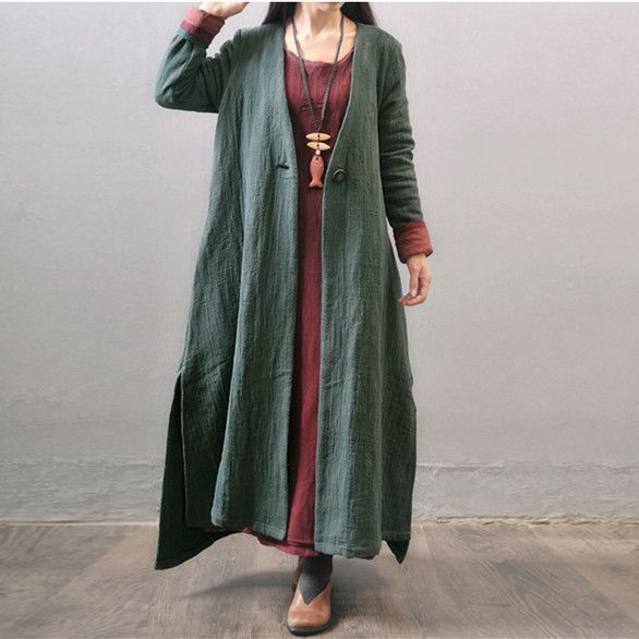 098f99f9581 Women autumn and winter cotton linen loose long coat -Buykud ...