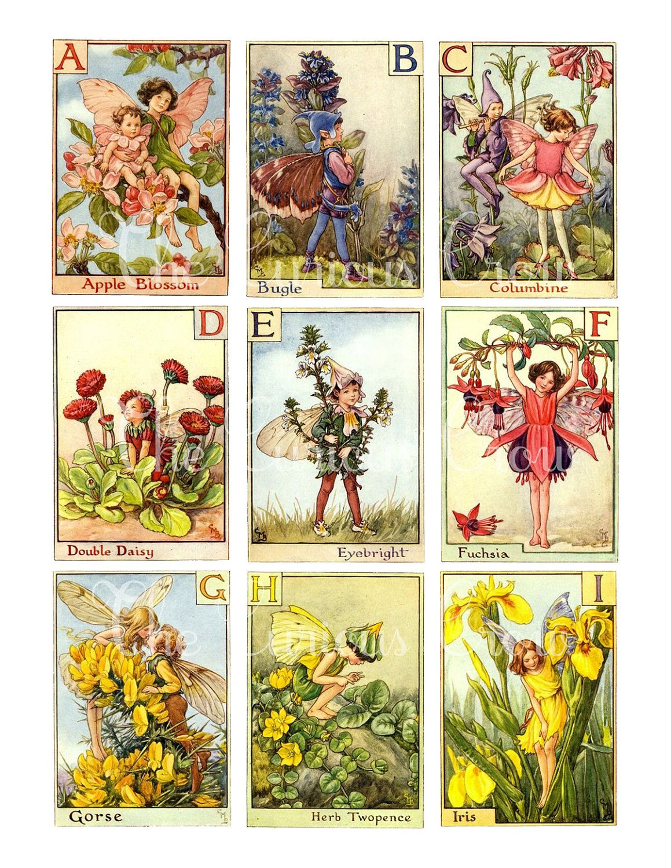 Vintage Alphabet Fairies Digital Collage Sheets