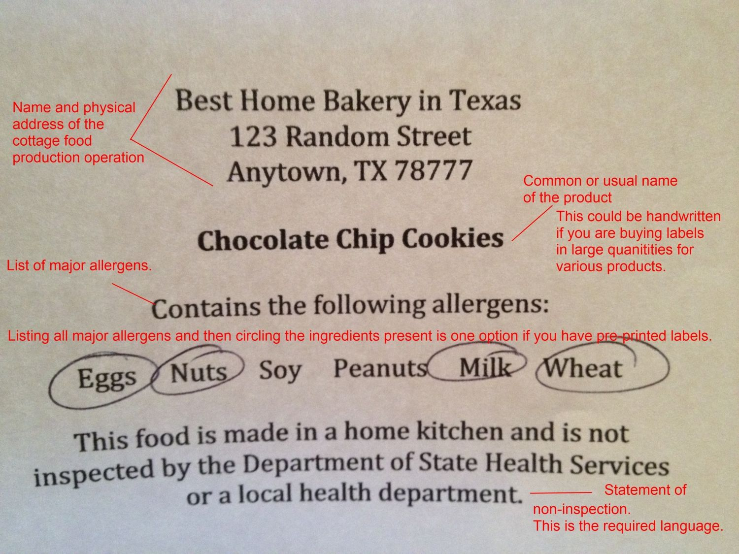 Texas cottage food law resources sample label it is legal to sell jams and jellies in texas but you are required to put these things on the lablel