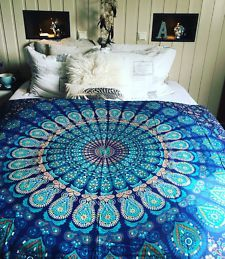 Blue Peackock Feather Mandala Bohemian Tapestry Wall Hanging Bedspread - Twin/Single