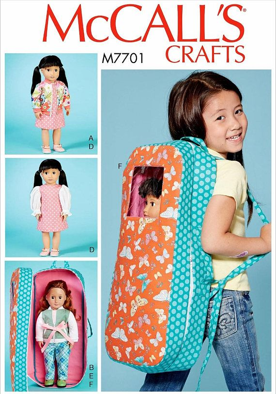 Doll Carrier Pattern, 18 inch Doll Clothes Pattern, Backpack Doll ...