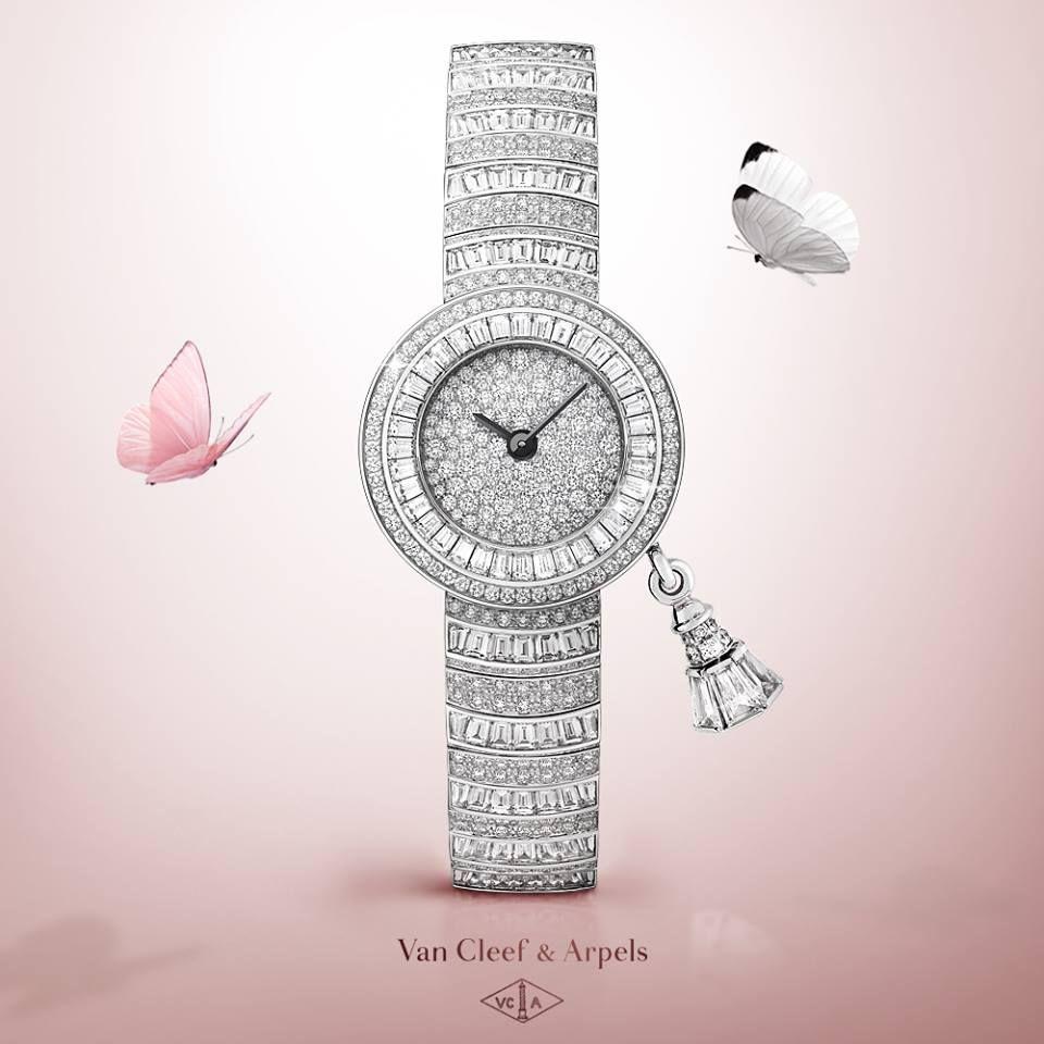 Van cleef u arpels sweet charms pavée bracelet joaillier watch in