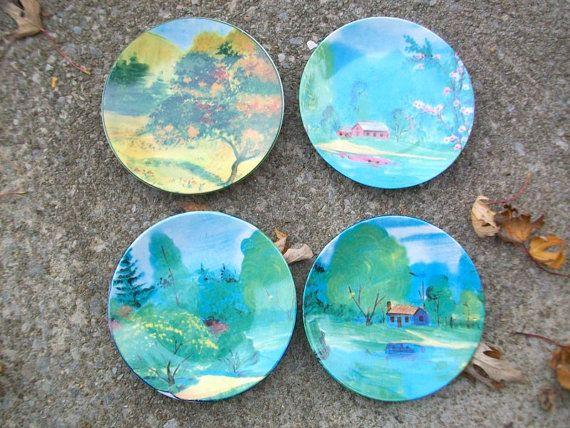 Vintage Plates Decorative Plates Scenic Plates by MustardDandelion & Vintage Plates Decorative Plates Scenic Plates Ceramic Plates ...