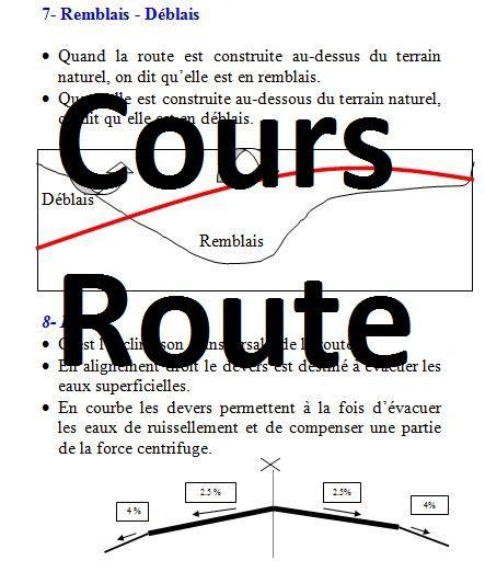 Cours de route - Terminologie, caractéristiques et paramètres