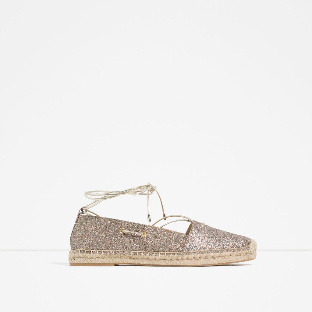 espadrilles À paillettes et lacets-chaussures plates-chaussures