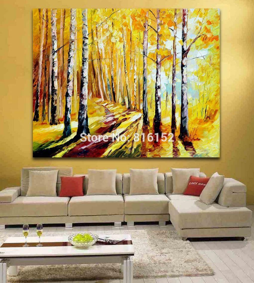 Visit to Buy] Palette Knife Painting Morning Forest Happy Walkway ...