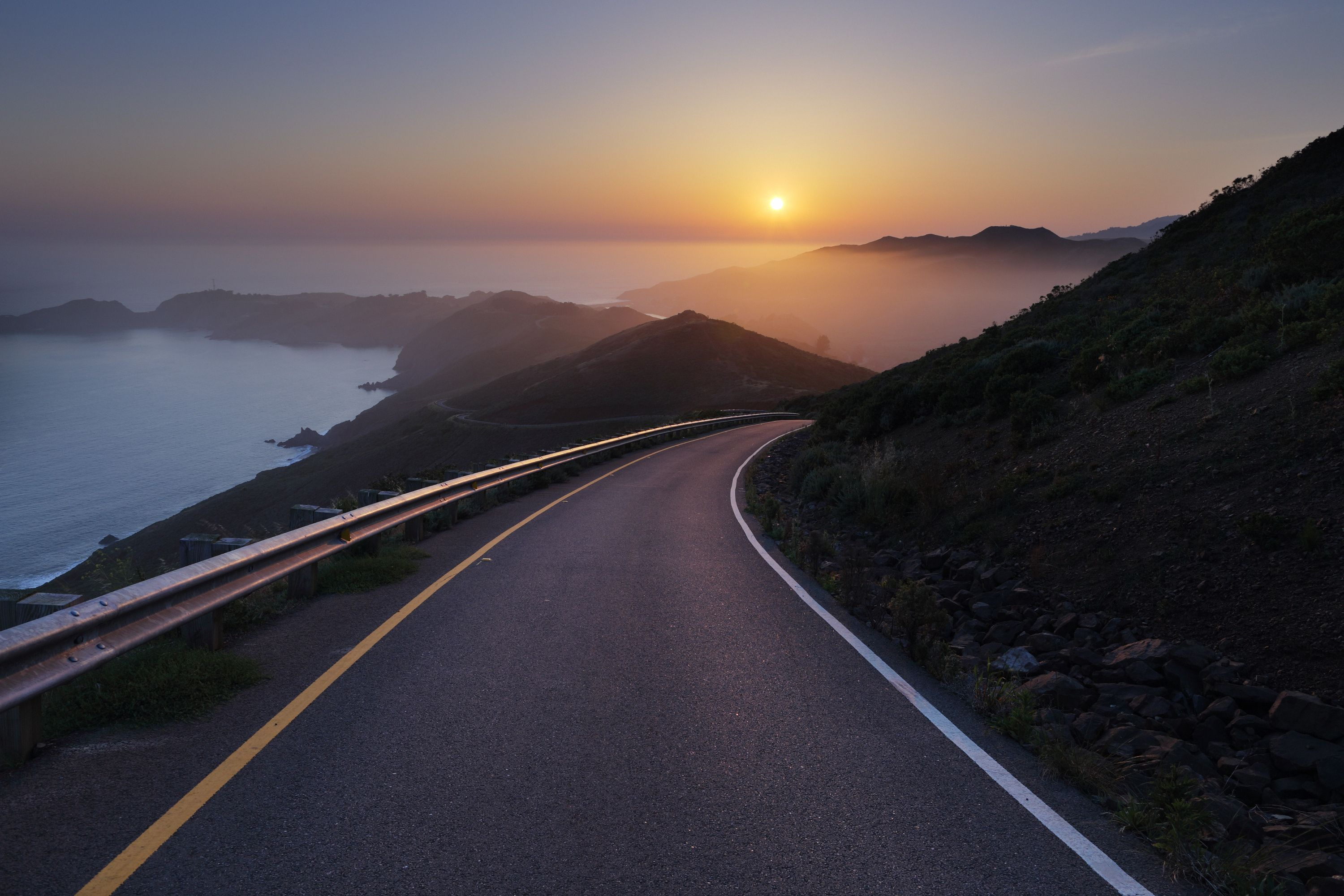 3000x2000 Wallpaper Conzelman Road Sunset Turning Road Sea New Nature Wallpaper Desktop Background Nature Nature Wallpaper