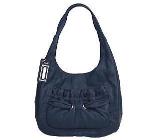 B. Makowsky Washed Glove Leather Hobo Bag w/ Gathered Pocket