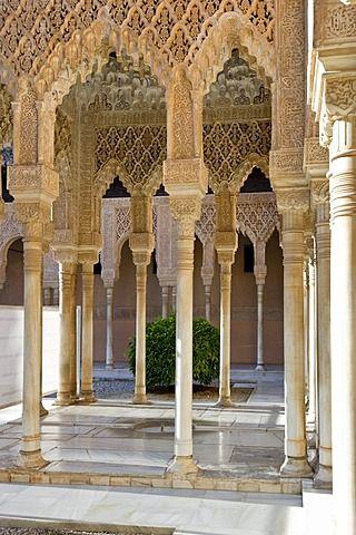 Patio de los Leones, Alhambra, Granada, Andalucía, España, Europa
