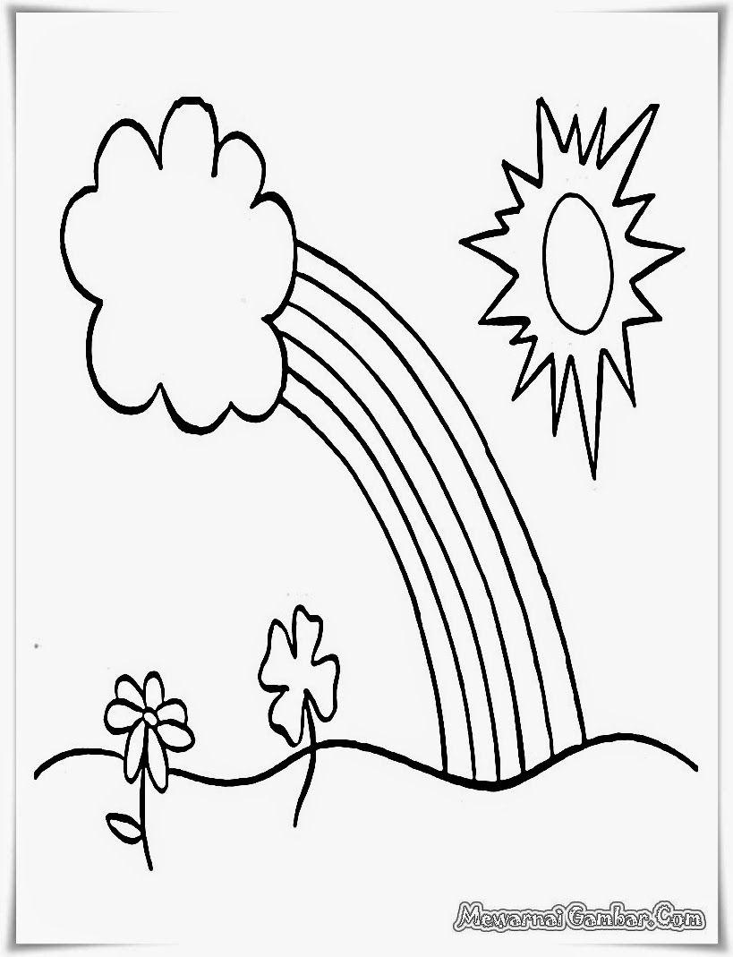 Buku Mewarnai Gambar Pemandangan Matahari Dan Pelangi Ayam Pinterest