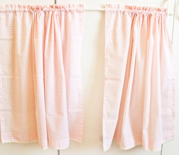Vintage Pink Gingham Curtains Checkered Drapes Cottage Chic Farmhouse Sink Cover Vintage Curtains Farmhouse Chic Bedroom Decor Farmhouse Chic Bedroom