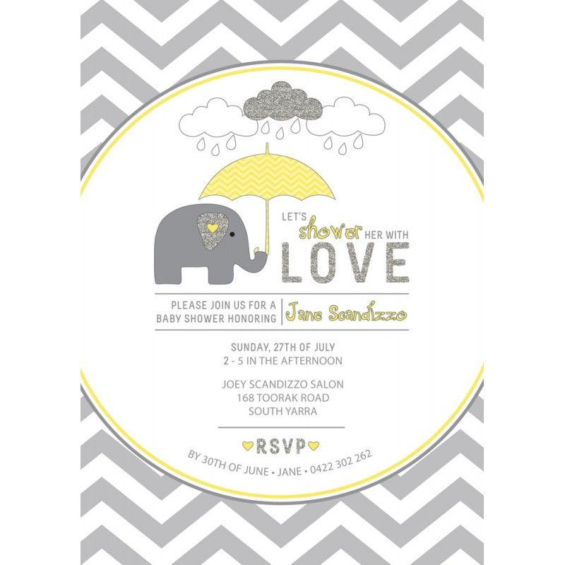 Yellow and Grey Elephant Baby Shower Printable Invitation ...