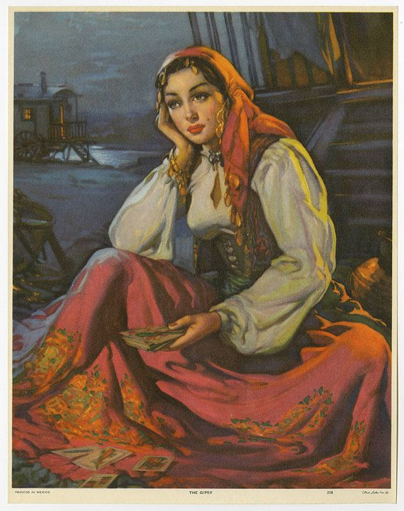 Vintage original 1940s romantic art deco mexican pin up print vintage romantic art deco mexican pin up print gypsy fortune teller mint sciox Gallery