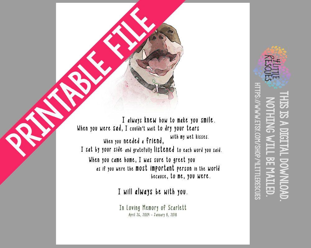 Digital download custom dog memorial gift pet sympathy