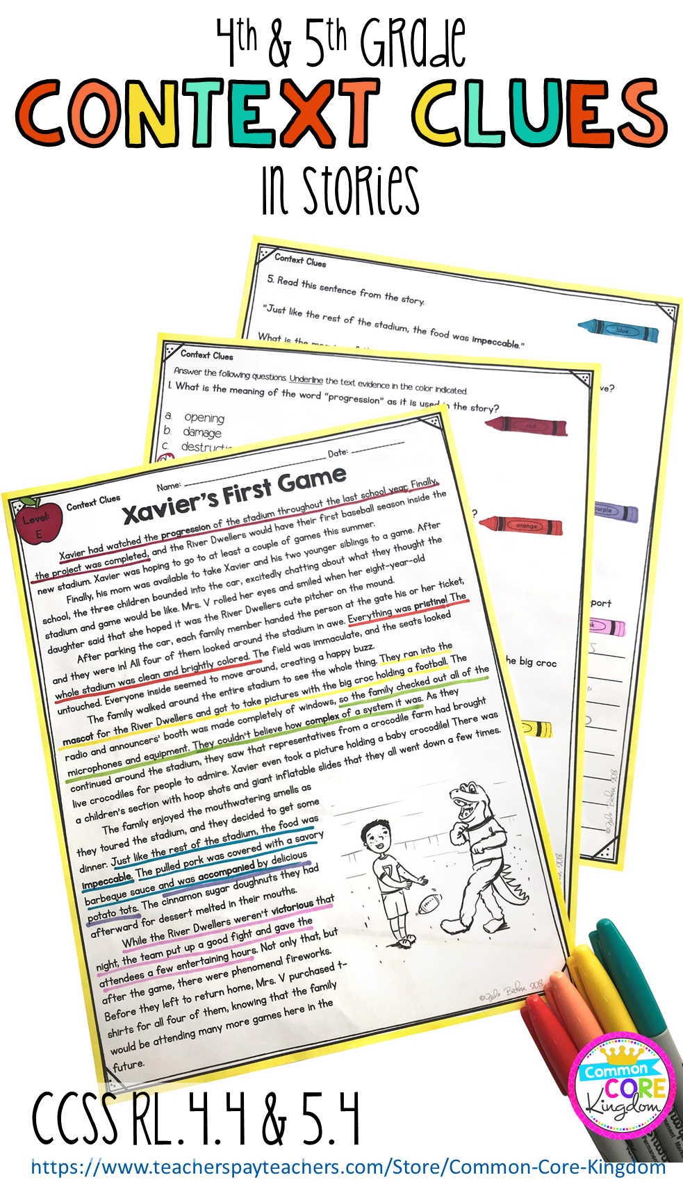 Context Clues in stories- 4th & 5th Grade RL 4 4- RL 5 4