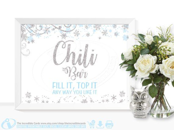 Chili Bar Sign Winter ONEderland, Chili bar sign, First Birthday Party, Baby shower, Bridal Shower, Winter Wonderland, Blue and Silver, DIY #chilibar