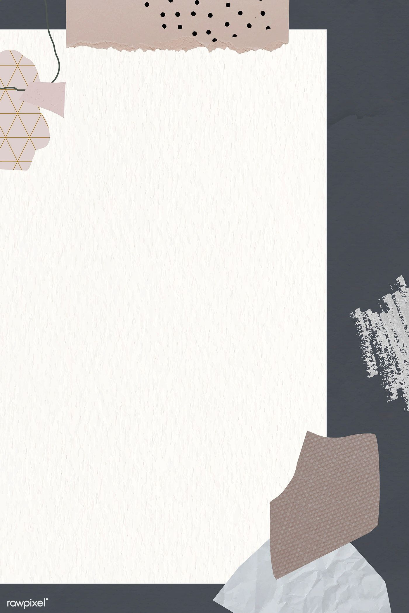 Ripped Newspaper And Flower Stem On Gray Banner Vector