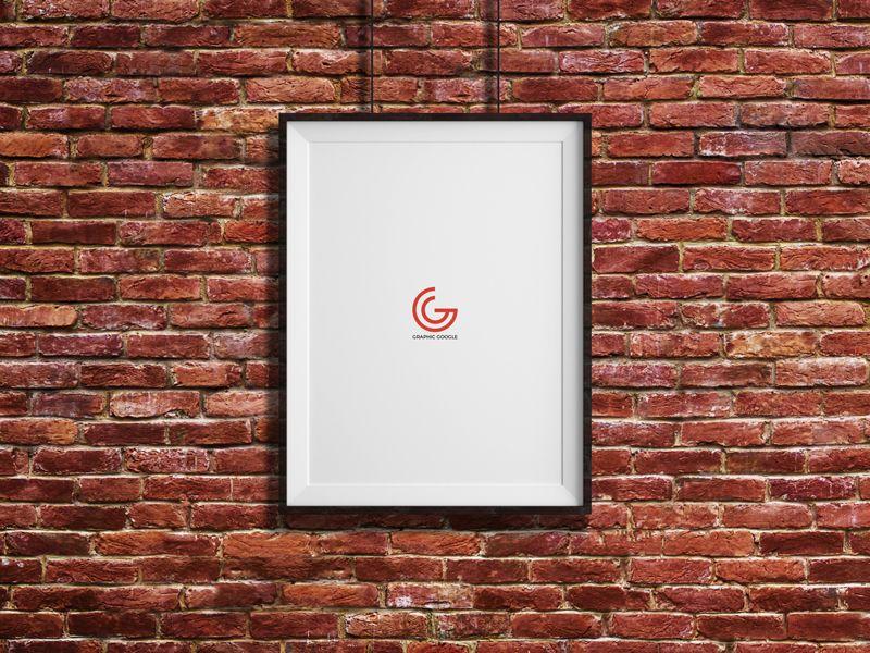 Free Bricks Wall Hanging Frame Poster Mockup Psd 600 Poster Frame Hanging Frames Hanging Picture Frames