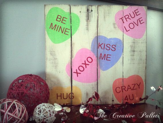 Items Similar To Valentineu0027s Day Sign Conversation Hearts Vintage Pallet  Wood Decor On Etsy