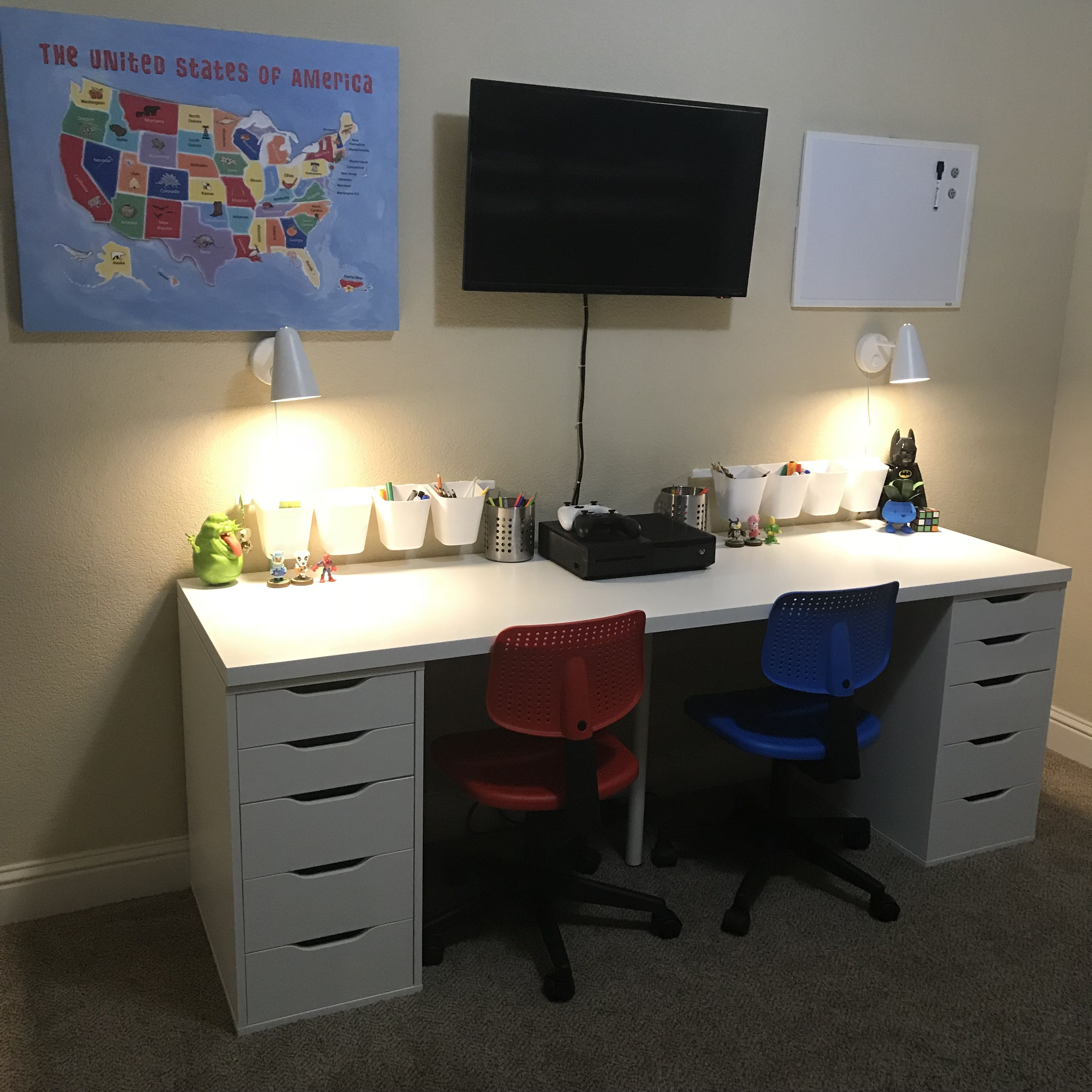 Shared Kids Desk Ikea Table Top Linnmon Drawers Alex Wall