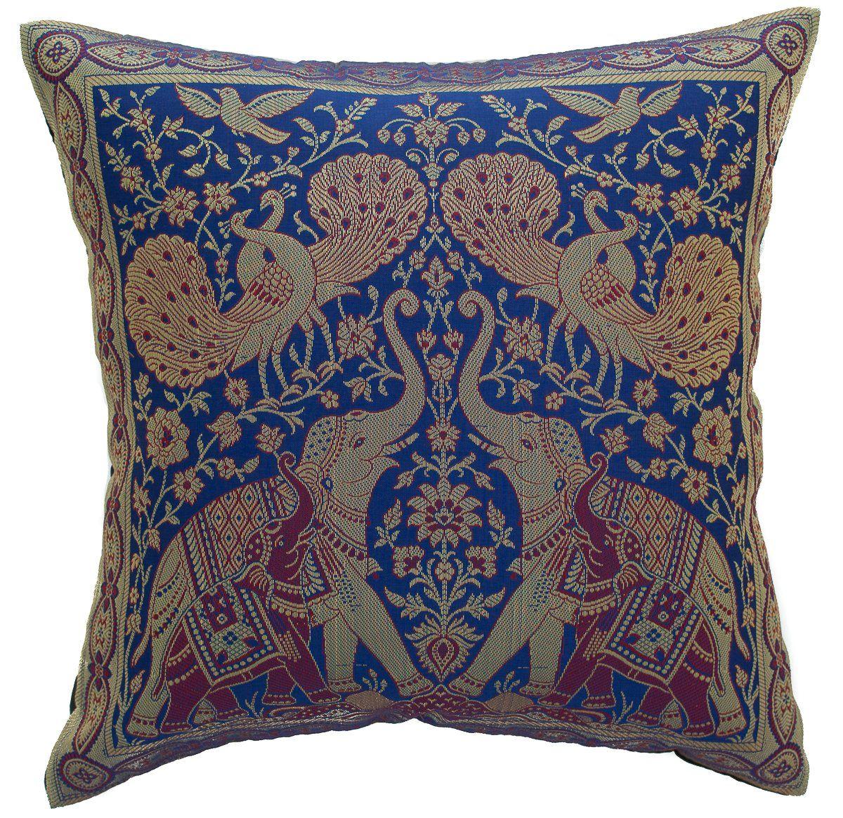 Avarada India Style Elephant Peacock Throw Pillow Cover