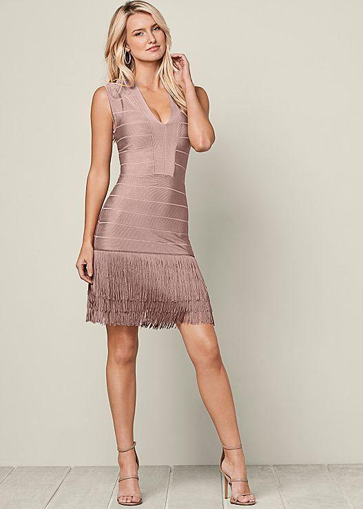 f65e399bca9 You ll definitely make them blush in this dress! Venus slimming fringe dress  with Venus strappy heel.