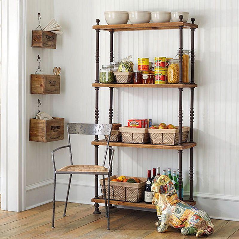 55 Minimalist Kitchen And Hanging Rack Designs Rak Dapur Rak Kayu Perabotan Dapur