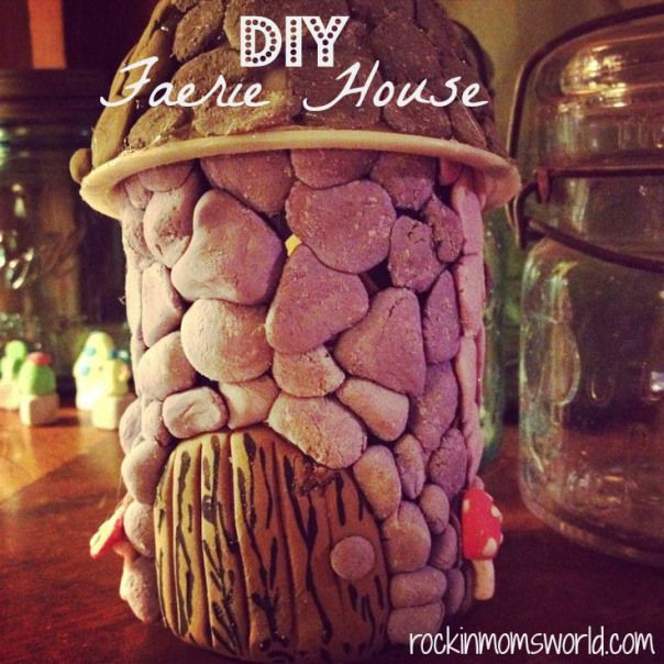 DIY Faerie (fairy) house for faerie gardens. Super easy!! Basically just a jar, a funnel, and some dough! This would be an ideal project to do with polymer clay but you can also use homemade dough like I did.