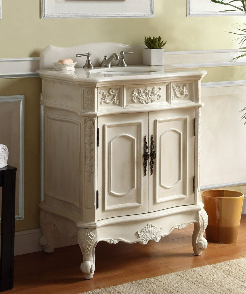 30 inch Adelina Antique White Single Sink Bathroom Vanity