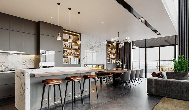 Cucina Isola Con Tavolo.Cucina Con Isola Arredare Salotto Piccolo Soffitto Bianco