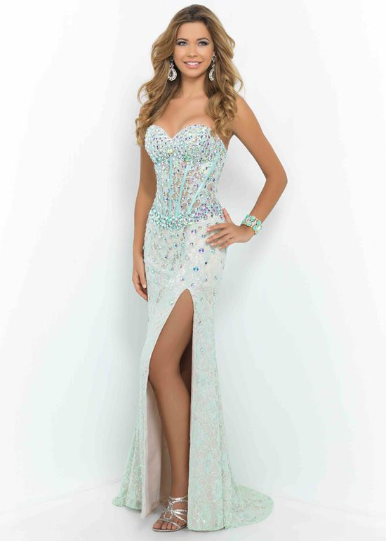 Long Rhinestone Beaded Mint Green Nude Prom Dress With Leg Slit ...